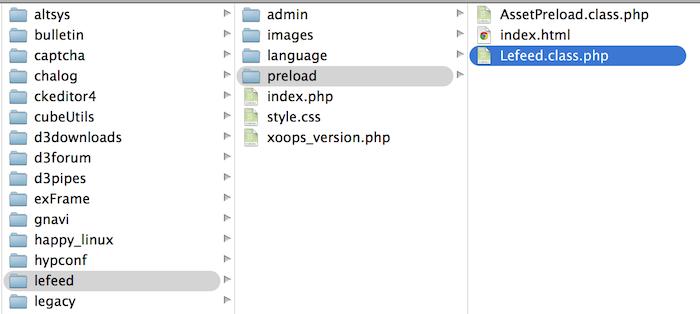lefeedモジュールのプリロードディレクトリにある該当プリロードファイルを削除